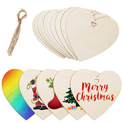 MELLIEX 40 Stück Holzanhänger Deko, Herz Weihnachten Holz Ornamente DIY Basteln Anhänger zum Bemalen für Weihnachtsschmuck Weihnachtsanhänger Baum Geschenkanhänger