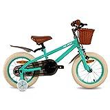 HILAND Bicicleta infantil de 14 pulgadas de ins Star, para niñas de 3 a 6 años, con ruedas de apoyo, freno de mano y freno de contrapedal, color verde