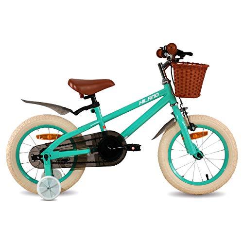 Hiland ins Star - Bicicleta infantil de 16 pulgadas para niños de 4 a 7 años, con ruedas de apoyo, freno de mano y freno de contrapedal, color verde
