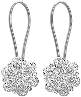 Lewondr 1 Pair Sparkling Crystal Flower Curtain Tieback Stretchy Curtain Buckle Clips Curtain Bind Stainless Spring Wire M...