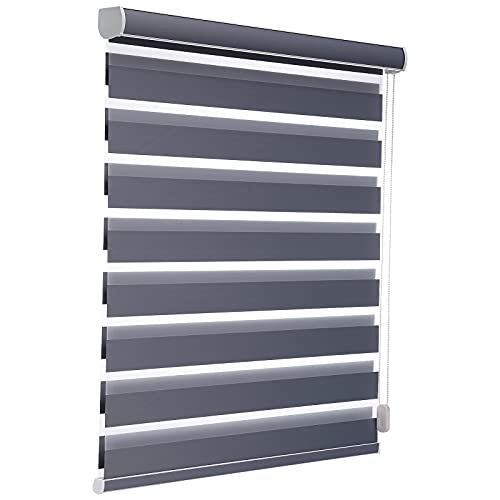 Changshade Customized Shades,Size Customization,Dual Layer Zebra Roller Blinds,Blackout Roller Blinds with Thermal Insulated for Office,Living Room,Bedroom,Kitchen,Easy Installation Dark Grey