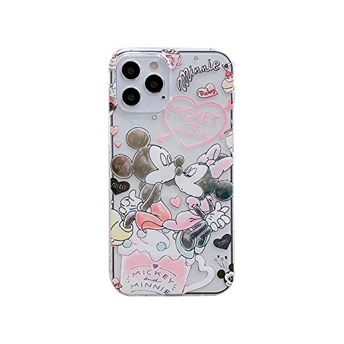 iFiLOVE for iPhone 12 Pro Max Case, Boys Girls Kids Cute Cartoon Minnie Mickey Mouse Character Slim Soft TPU Clear Protective Case Cover for iPhone 12 Pro Max 6.7 inch (Minnie Mickey Kiss)
