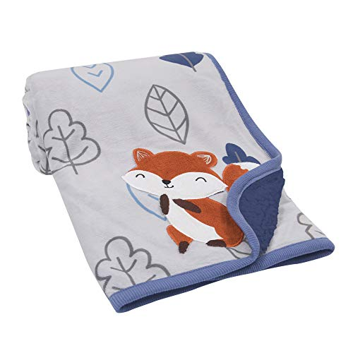 Lambs & Ivy Little Campers Blue/Gray Fox with Leaves Sherpa Baby Blanket