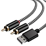USB to 2-Male (6FT) RCA Audio Aux Cable for PC Stereo Y Splitter Cord Jack Adapter Compatible with USB A Laptop, Linux,Windows, Desktops, PS4 and More Device for Amplifiers, Home Theater, Speaker