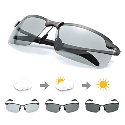 TJUTR Men's Photochromic Sunglasses with Polarized Lens for Outdoor 100% UV Protection,Anti Glare, Reduce Eye Fatigue (Metalgun(Rectangular)/Discolor)