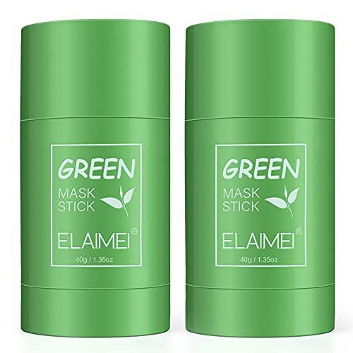 Green Mask Stick Punti Neri, potente maschera all'argilla purificante al tè verde Controllo dell'olio per la pulizia profonda Rimozione dei punti neri per tutti i tipi di pelle