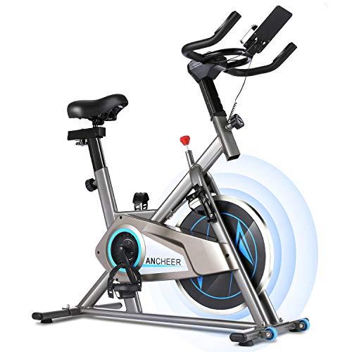 ANCHEER Fitness-Bike Fahrradtrainer Stationäres Heimtrainer mit APP-Steuerung, Herzfrequenz, LCD-Monitor, verstellbarem Sitz und Lenker für das Cardio-Training zu Hause