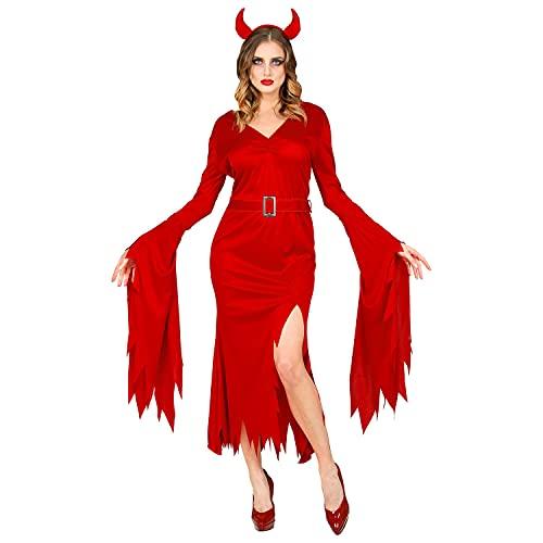 Widmann Widmann-52899 52899 – Costume, Robe, Ceinture, Cornes de Diable, Satan, Grotte, Carnaval, Halloween, Femme, Multicolore, XS