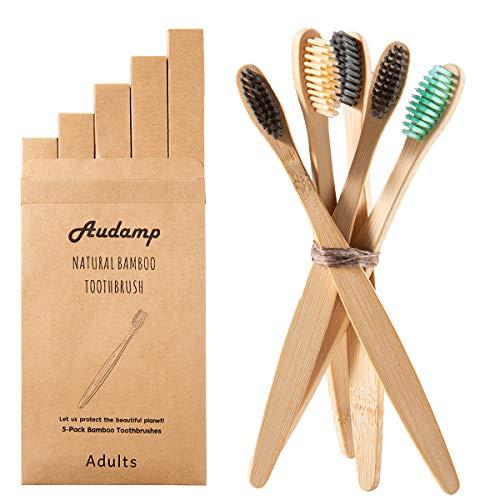 Audamp Bambus Zahnbürsten 5er Pack Holzzahnbürste Weiche Borsten Biologisch Abbaubar BPA Frei Umfreundliche Verpackung Für Kinder und Erwachsene (5er Pack)