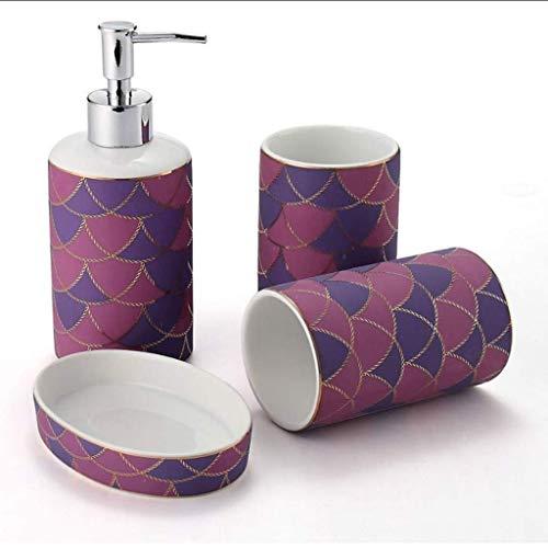 Dispensador de loción Accesorios de baño Set de estilo europeo baño de cuatro piezas de cerámica par de tazas Creative conjunto práctico de artículos de tocador baño WC Kit Bomba de jabón líquido para