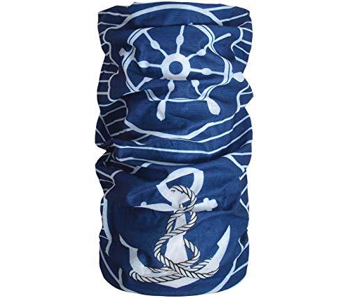 Halstuch Schlauchschal Damen Multifunktionstuch Herren Maritim Anker Design Atmungsaktiv Sport Rundschal Motorrad Tuch Loop (Maritim blau weiß)