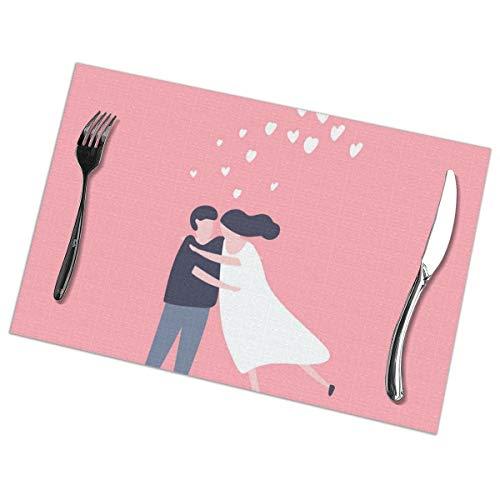 Een paar in liefde knuffels Placemat wasbaar voor keuken diner tafelmat, gemakkelijk te reinigen gemakkelijk te vouwen plaats Mat 12x18 Inch Set van 6