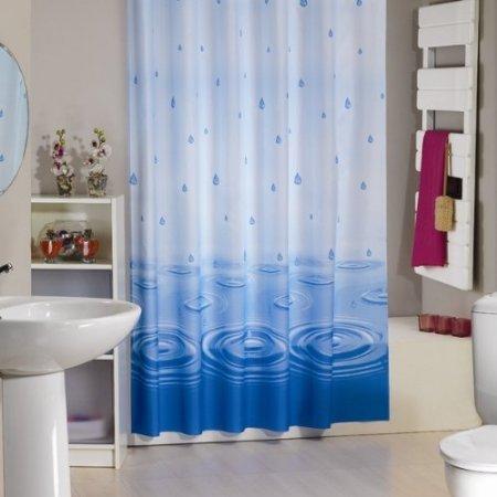 wohnideenshop Wassertropfen Duschvorhang Textil, 120cm breit x 200cm lang, mit Ringen