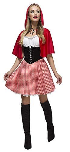 Fever Damen Rotkäppchen Kostüm, Kleid, Unterrock und Umhang mit Kapuze, Größe: L, 38490