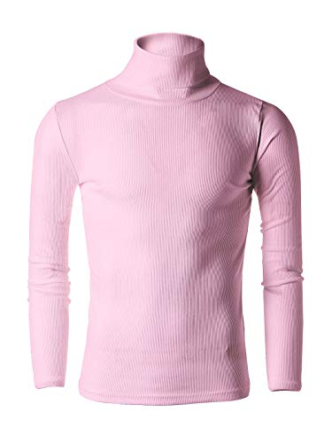 Nyfashioncity Mens Casual Slim Fit Light Weight Turtleneck Pullover Sweaters Basic Design T-Shirts US Size S, Asia L, Pink