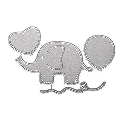 Rayher Hobby 59241000 Stanzschablonen Set, Baby, Motive Elefant, Ballon, Herz, Schnur, Metall/Stahl, 4 Stanzformen Dies, Größen ca. 2,1-8,5 cm
