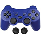 Bek Controller Replacement for PS3 Controller, Wireless Remote Gamepad, Thumb Grips, Double Shock 3 Vibration, Motion Sensors, Rechargeable Battery, Compatible with Sony Playstation 3 (Blue)
