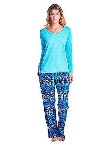Ashford & Brooks Women's Long Sleeve Cotton Top with Mink Fleece Pants Pajama Set - Fair Isle Blue - Medium
