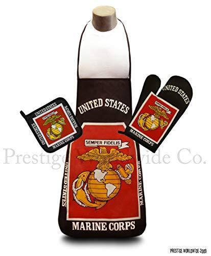 U.S. Marine Corps Kitchen & BBQ SetNew w/ Apron, Oven-mitt and Pot holder United States Marines by Ace World