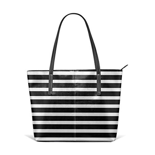 BAODANLA Borse a spalla da donna Women's Soft Leather Tote Shoulder Bag Black White Stripe Big Capacity Casual Portable Handbag Purses Work Travel Bag