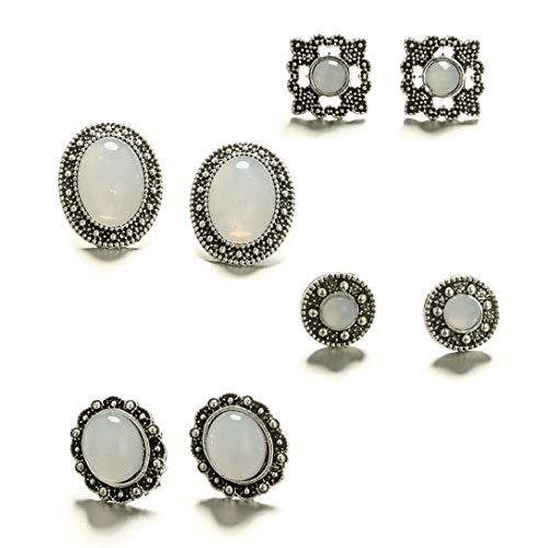 4 paar vintage sieraden maansteen oorbellen edelsteen bungelen oorstekers