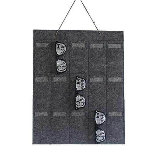 Bolsa de almacenamiento de gafas de sol para colgar en la pared, bolsillo de fieltro Bolsas múltiples Soporte para gafas de joyería para el hogar, Organizador de llaves de soporte de exhibición