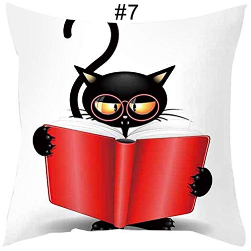 BonTime 1PC Cartoon Black Cat Comic Print Cojín Cuadrado Funda de Almohada Decoración del hogar (45 * 45cm)