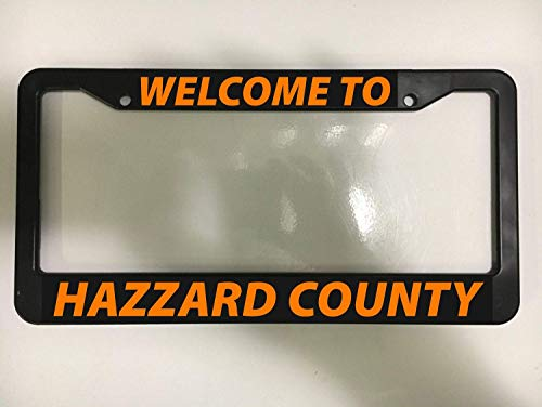 Aluminum License Plate Frame Personalised Waterproof License Plate Cover Welcome to Hazard County Car Vehicle Dukes of Hazzard General Lee for Auto Car Accessories 6x12