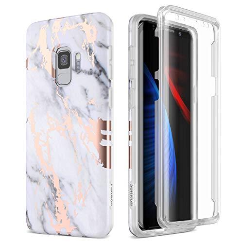 SURITCH Funda para Samsung Galaxy S9 Silicona 360 Grados Marmol Oro Rosa Bumper Flexible TPU Elegante Delantera y Trasera Irrompible Caso Carcasa Samsung Galaxy S9 - Blanco y Negro