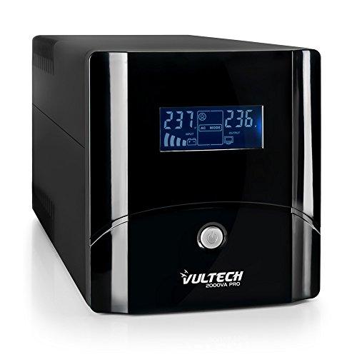VulTech UPS2000VA-PRO Line Interactive Gruppo di Continuità con LCD, Nero [Italia]