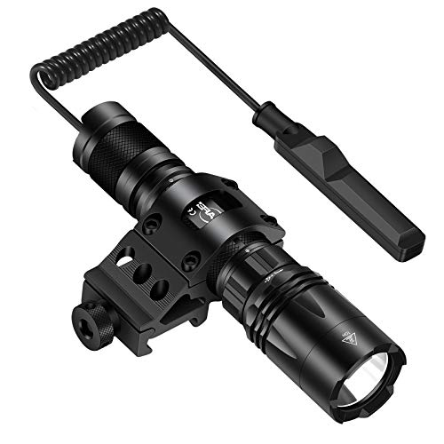 MIKAFEN Tactical Flashlight 1200 Lumens LED Weapon Light with Picatinny Mount, Micro-USB Rechargeable, Battery and Pressure Switch Included