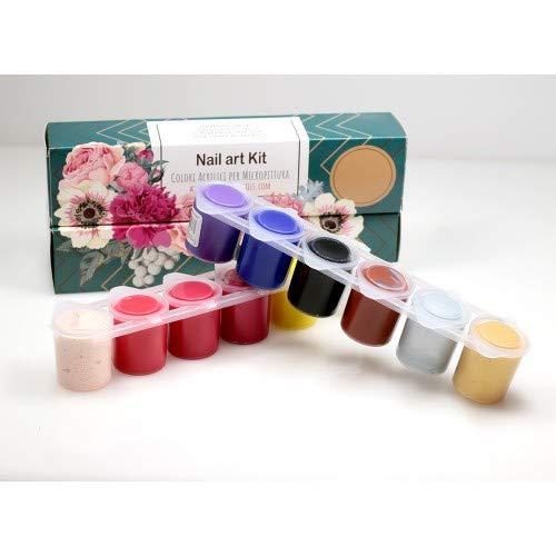 12 colori acrilici per nail art e micropittura per la decorazione delle unghie - Set Colori acrilici tempere 12 vasetti già pronti all'uso - 300ml - KIT NAIL ART...