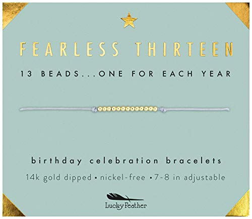 Image of the Lucky Feather Gifts for 13 Year Old Girl; 13th Birthday Bracelet with 13 Dainty 14K Gold Dipped Beads on Adjustable Cord; Bat Mitzvah Gift
