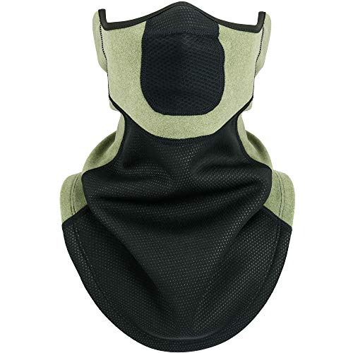 WTACTFUL Windproof Fleece Neck Gaiter Neck Warmer Face Mask Cover for Cold Weather Breathable Gear Winter Outdoor Sports Snowboard Skiing Cycling Motorcycle Hunting Running Men Women Green