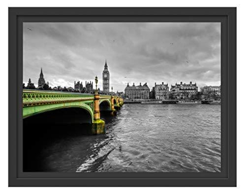 Picati London mit Themse und Big Ben im Schattenfugen Bilderrahmen/Format: 38x30 im Schattenfugen-Bilderrahmen/Kunstdruck auf hochwertigem Galeriekarton/hochwertige Leinwandbild Alternative