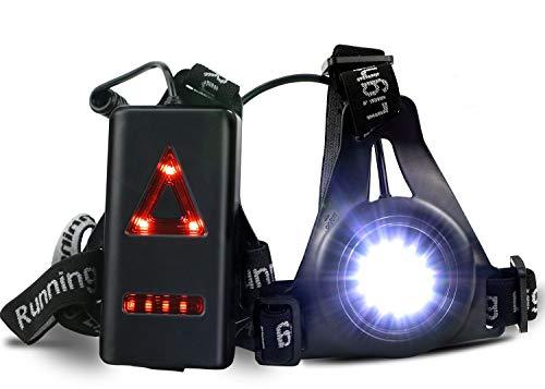 ATNKE Lampe torche à LED, lampe de course nocturne rechargeable par USB, lampe de poche réglable haute visibilité confortable et étanche avec feu arrière 3 modes de fonctionnement conviviaux