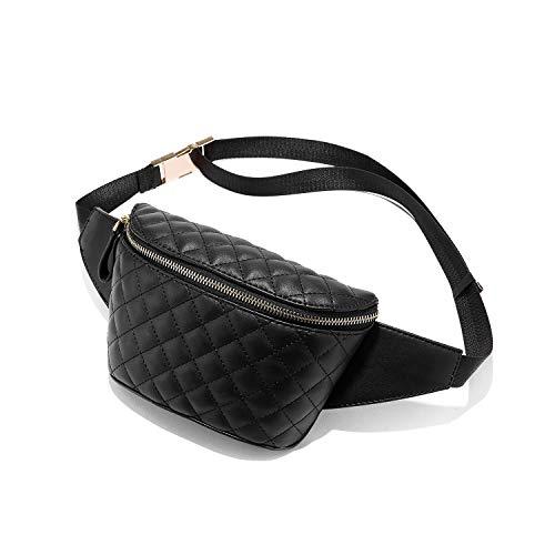 LOVEVOOK Gürteltasche Damen Bauchtasche Damen Hüfttasche Damen Gesteppt Handytasche Tasche Mode Schwarz