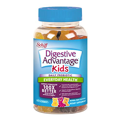 Digestive Advantage Kids Daily Probiotic Gummies- Helps Reduce Minor Abdominal Discomfort & Bloating, 60 Count, Natural Fruit Flavors