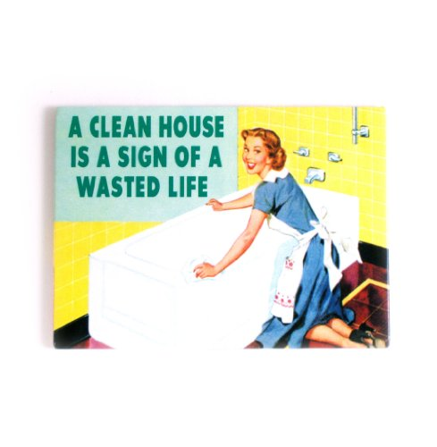 Ha Clean house is a sign of a Wasted Life 'Fridge Magnet
