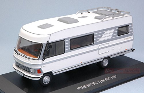 Ixo Model CAC004 HYMER Mobil Type 650 Camper 1985 White/Grey 1:43 Die Cast Model Compatibile con