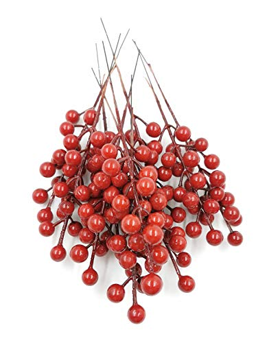 MS.CLEO Red Berries, 10 Pack Artificial Berry Stems Holly Christmas Berries for Festival Holiday Crafts and Home Decor - Wreath, Garland, Christmas Ornaments Decoration (7.8 Inches)