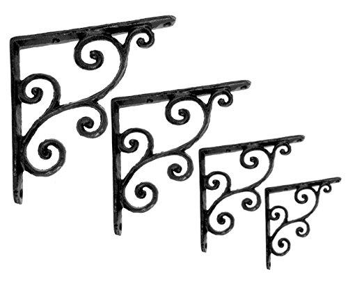 NACH js-90-071 Rustic Decorative Shelf Bracket (Pack of 4), Small, Black (5.5x0.7x5.5 inches)