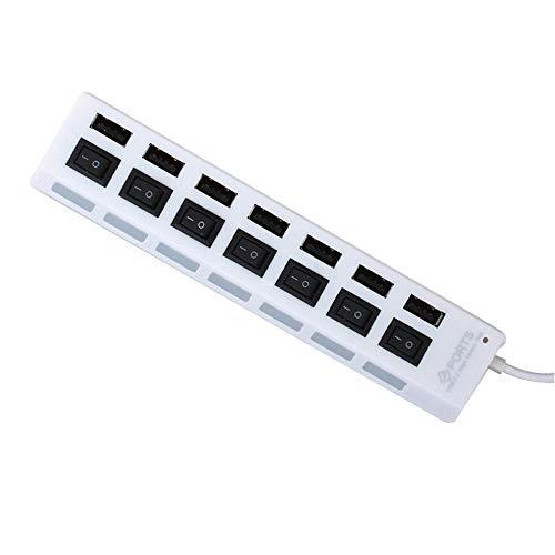 7-Port USB 2.0 Multi-Ladehub + Hochgeschwindigkeitsadapter EIN/AUS Schalter Laptop/PC (Weiß)