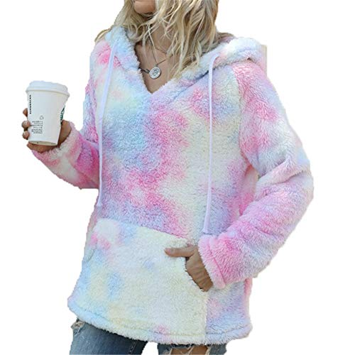 ZFQQ Autumn and Winter Women's Fashion tie-dye Pocket Hooded Plush Long-Sleeved Sweater Pink Yellow