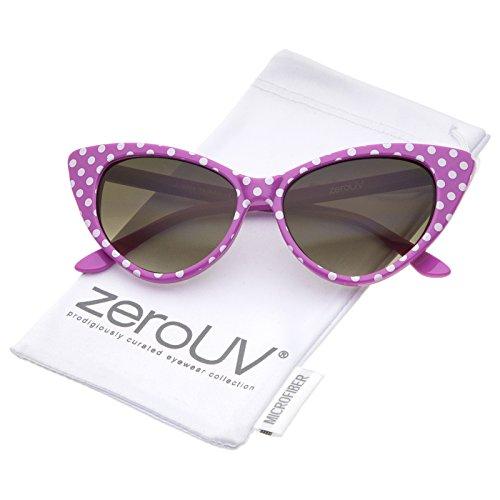 zeroUV - Polka Dot Cat Eye Womens Mod Fashion Super Cat Sunglasses (Pink-White/Smoke Gradient)