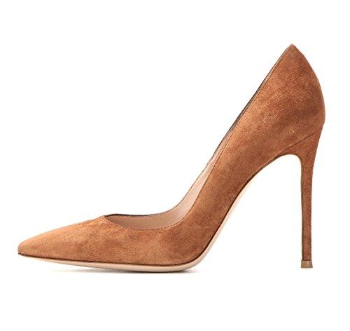 EDEFS Klassische Damen Pumps | Moderne Damen High Heels | Stiletto Schuhe | Damen Geschlossene Pumps Braun Größe EU39