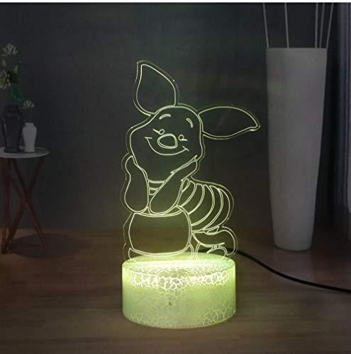 QAZQAZ Led Lampe de Nuit de Bande Dessinée Winnie Lampe de Bureau Doux Porcelet Garçons Filles Chambre Lampe de Table Bébé Lampe de Couchage Enfants Noël Nouvel An Cadeau