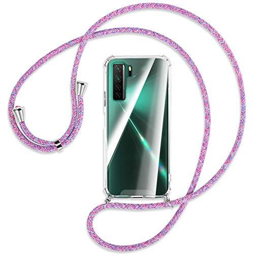 mtb more energy Collar Smartphone para Huawei P40 Lite 5G, Nova 7 SE (6.5'') - Unicornio Morado - Funda Protectora ponible - Carcasa Anti Shock con Correa para Hombro