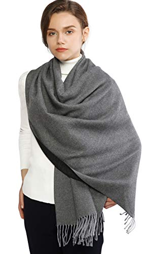 Winter Cashmere Wool Scarf Pashmina Shawl Wrap for Women Long Large Warm Thick Reversible Scarves Gray and Black