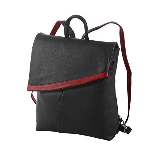Okso Damenrucksack 3203 echt Leder Rucksack (schwarz/rot)
